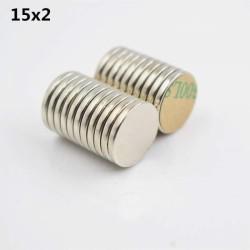 Disk Ø15x2mm - Neodynium Magnet (10 pack)