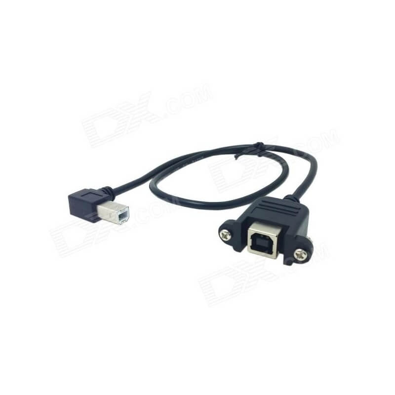 USB Cable - Angled Male to Panel Mount Female